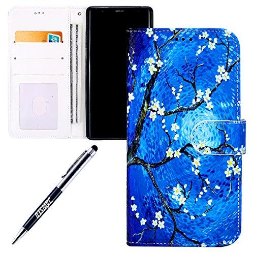 Galaxy-Note-8-HlleGalaxy-Note-8-LederhlleJAWSEU-Handyhlle-Samsung-Galaxy-Note-8-Schutzhlle-PU-Leder-Brieftasche-Flip-Case-Cover-Schtz-Hlle-Abdeckung-Ledertasche3D-Bunt-Gemalt-Rosa-Blumen-Malerei-Muste