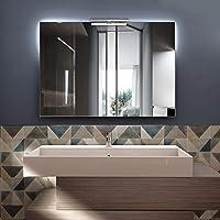 styleglass Miroir de Bain Rectangulaire Réversible Perla 100x70cm, Miroir Mural avec Lampe LED 6000 Kelvin, Cadre PVC…