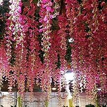 Houda - Wisteria artificial para colgar (flores de seda, para fiestas y decoración, 12 piezas, 1 m)