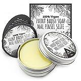 Pinselreiniger für Acrylfarbe Ölfarben Aquarell - Künstlerseife und Malpinsel Reiniger - 40g vegane Pinselseife für Künstler - Tritart