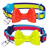 Blueberry Pet Pack of 2 Cat Collars, Classic Solid Adjustable Breakaway Cat Collar with Bell and Bow Tie in Fluorescent Yellow and Pink, Neck 23cm-33cm