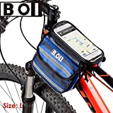 BOI 4.8 Inch Touch Screen Bicycle Front Tube Phone Bag Holder Pouch Blue Regalo Ideal para Mujeres Hombres jóvenes Niños