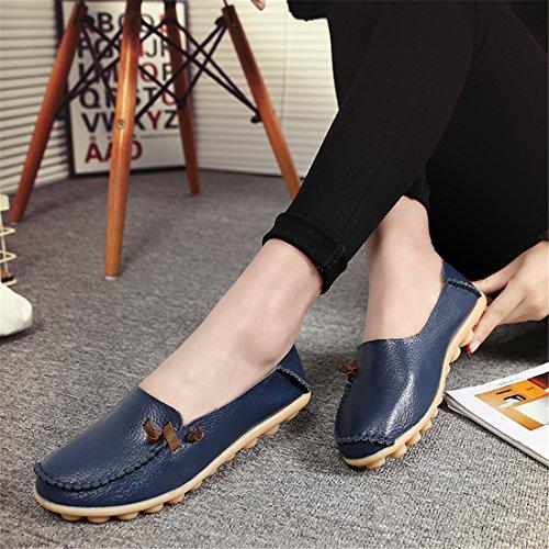 Auspicious beginning Mesdames en Cuir Mocassins Mode Mocassins Appartements Chaussures bleu foncé