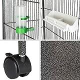 TecTake Volière pour oiseaux cage sur roulettes | incl. 4 perchoirs + bac à nourriture + distributeur à eau |...