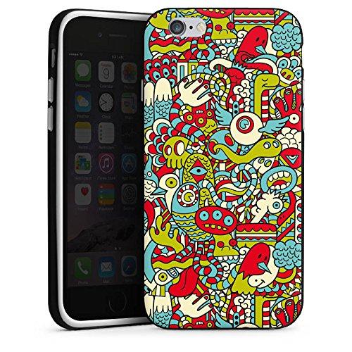 Apple iPhone X Silikon Hülle Case Schutzhülle Monster Muster Bunt Silikon Case schwarz / weiß