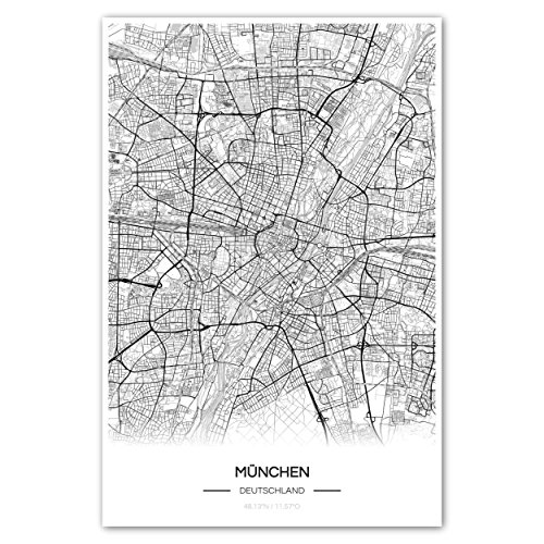 Zulumaps Poster 30x45cm Stadtplan München - Hochwertiger Kunstdruck