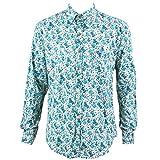 Loud Originals Regular Fit–Camisa de manga larga pequeñas color turquesa y verde, diseño de flores de color blanco