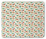 Dragon Mouse Pad, Multicolor Flying Smiling Dragons Illustration Cartoon Style Funny Looking Dinos, Standard Size Rectangle Non-Slip Rubber Mousepad, Multicolor
