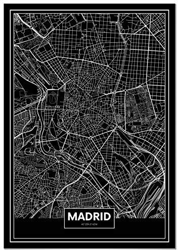 Panorama® Póster Mapa Negro Madrid 50 x 70 cm |