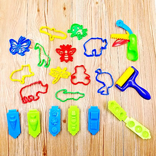 Jzk set 20 formine per plastilina modellabile accessori per pongo / play doh / dido attrezzi argilla modellabile animali insetti piante stampini pasta modellare per bambini