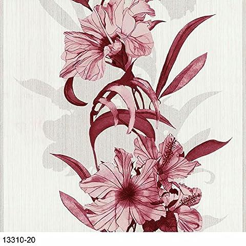 Vlies Tapete P+S EINFACH SCHÖNER 13310-20 Floral Blumen Rot Rosa Creme Glitzer
