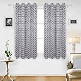 Deconovo Ring Top Curtains Eyelet Beautiful Eyes Printed Thermal Insulated Blackout Curtains for Kitchen with Two Tiebacks 46 x 54 Inch Dark Grey Pair