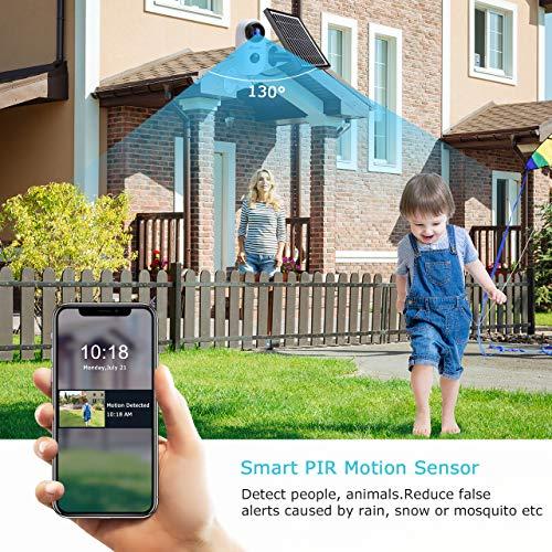 Ctronics Überwachungskamera + Solarpanel, 1080p Kabellose WLAN IP Kamera mit Wiederaufladbarer Batterie, SD Kartenslot, PIR Bewegungsmelder, IR Nachtsicht, 2-Wege-Audio