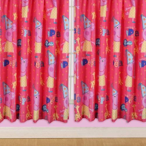 Character World - Tende traslucide con tema Peppa Pig alla festa di compleanno, da 168 x 137 cm, in microfibra al 100%, colore: Rosso/Colori vari