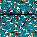 Stoffe Werning Baumwolljersey Lizenzstoff Frosch im Regenschirm blau-türkis - Preis gilt für 0,5 Meter-