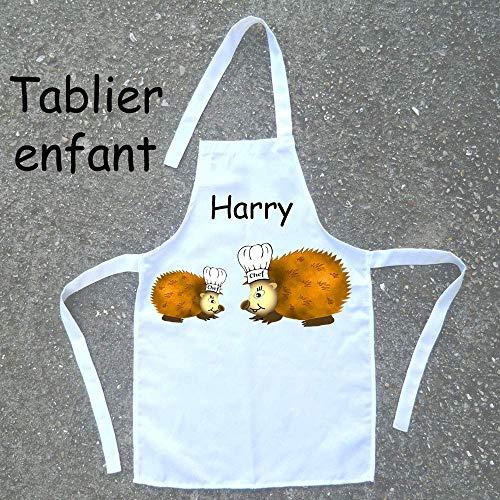 Tablier de cuisine enfant Hérisson à personnaliser avec un Prénom (ex. Harry)