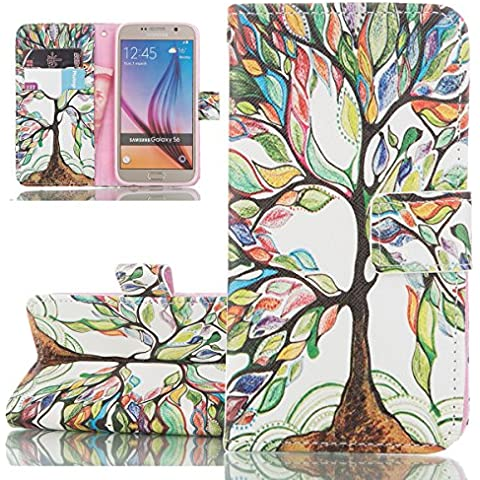 Custodia Samsung Galaxy S6, ISAKEN Samsung Galaxy S6 Cover, Bookstyle Colorful Custodia in PU Pelle Protettiva Flip Portafoglio Caso con Supporto di Stand / Carte Slot / Chiusura Magnetica