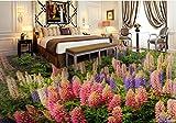 Yosot Benutzerdefinierte Küche Bodenfliesen Farbige Blumen Tapeten Wandbilder 3D Bodenfliesen Fotowand Mura Selbstklebende Bodenbelag-140cmx100cm