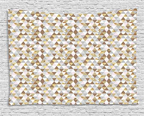 ABAKUHAUS Geometrisch Wandteppich, Marmor Dreiecke, Wohnzimmer Schlafzimmer Heim Seidiges Satin Wandteppich, 200 x 150 cm, Mehrfarbig