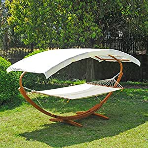 Outsunny Garden Patio Wooden Double Hammock Swing With Frame Stand Sun Roof Bed Sunshade Canopy Wood