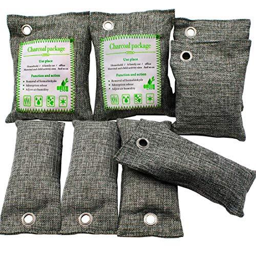 Lufterfrischer Beutel,Bambuskohle 8 Pack Natur Frischluftfilter Beutel Natürliche Lufterfrischer-Beutel,Aktivkohle Geruchseliminatoren Lufterfrischer Für Auto Badezimmer Küchen Haustier Kleiderschrank