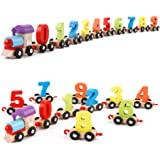 WISHKEY Wooden Digital Colourful Train with 0 to 9 Number, Learning Educational Model Vehicle Toys