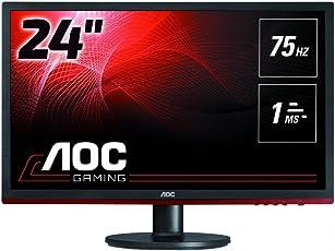 AOC G2460VQ6 61 cm (24 Zoll) Monitor (VGA, HDMI, DisplayPort, 1ms Reaktionszeit, 75 Hz, 1920x1080, FreeSync) schwarz