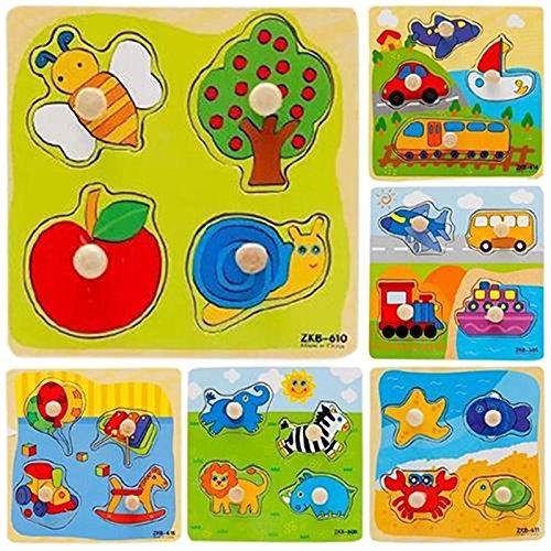 LAMEIDA Juguetes Educativo Juguetes Juegos Juguetes Rompecabezas de Madera Con Animales para Niño Bebé Muchacho Muchacha Niña(Color Azar)-1pcs
