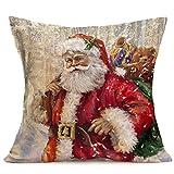 HEVÜY Weihnachtsdeko Kissenhülle 45 x 45 cm Kissenbezug mit schönem Weihnachten Muster (Nikolaus, Schneeflocken, Elch, Rot