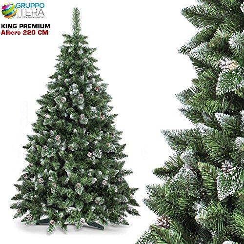 Bakaji albero di natale folto king premium artificiale innevato con pigne, bianco naturale punte ricoperte di neve, vere pigne di abete, con base a croce, altezza 220 cm, 1150 rami ingnifugo (220cm)