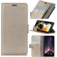 Forhouse Wiko View Wallet Leather Case with Protective Durable Shell Shell Folio flip Cell Phone Cover Bag with Card Slots,Cash Pocket,Golden