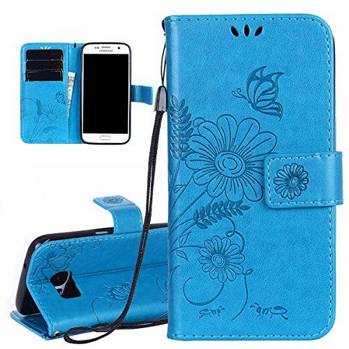 Hülle für Samsung Galaxy S7, Tasche für Samsung Galaxy S7, Case Cover für Samsung Galaxy S7, ISAKEN Blume Schmetterling Muster Folio PU Leder Flip Cover Brieftasche Geldbörse Wallet Case Ledertasche H Sonnenblume Schmetterling Blau