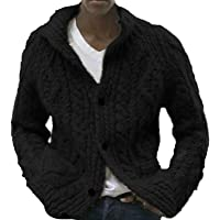 Mens Shawl Neck Cardigan Button Cable Knit Cardigans Chunky Knitted Jacket