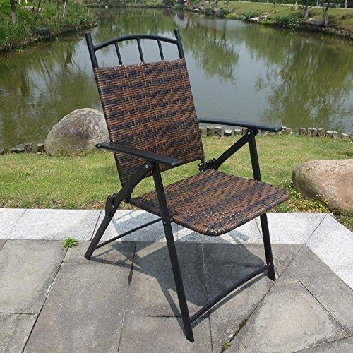 WAYMX Chaise Pliante Jardin Rotin Retour Repos Portable Outdoor Loisirs Ferme Balcon Parc Fer Forgé Chaises Chaises Portantes150Kg