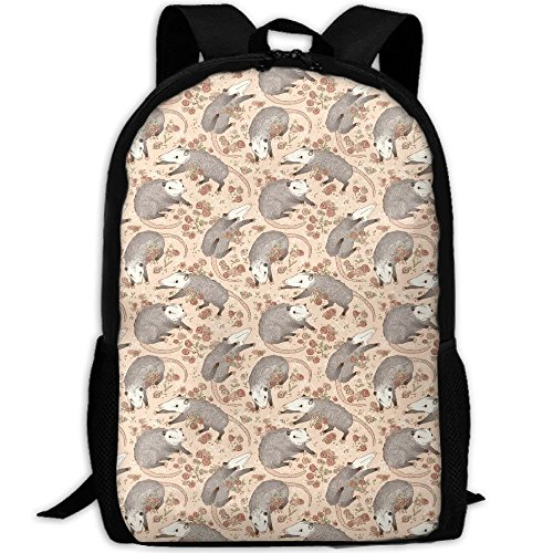 TRFashion Opossum and Roses.jpg Business Laptop Backpack Outdoor Sports Rucksack School Shoulder Bag for Men Women, Tear Resistant Unique Travelling Backpack Rucksack Schultasche (Pokemon Rucksack Auf Rädern)