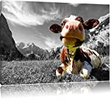 Kuh im Karwendelgebirge B&W Detail, Format: 80x60 auf Leinwand, XXL riesige Bilder fertig gerahmt mit Keilrahmen, Kunstdruck auf Wandbild mit Rahmen, günstiger als Gemälde oder Ölbild, kein Poster oder Plakat