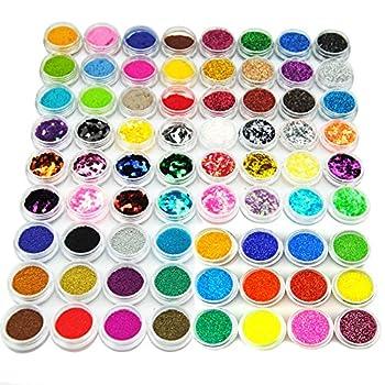 Fashion Gallery Nail Art 72pc Uv Gel Farbgel Cleanser Plus Acryl Puder Glitter Uv Gel Nail Set Nageldesign Anfängerset Nagelset Nagelgel Starterset 1