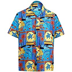 LA LEELA Casual Hawaiana Camisa Para hombre Señores Manga Corta Bolsillo Delantero vacaciones verano Hawaiian Shirt XL-(in cms):121-132 Azul_W273