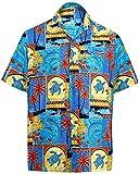 *La Leela* Shirt Camicia Hawaiana Uomo XS - 5XL Manica Corta Hawaii Tasca-Frontale Stampa Hawaiano Casuale Regular Fit Blu1688 XL