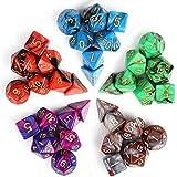 INTEY Dés Jeu De Role 7 Dice x 5 Couleurs (35 Pièces) Les Dés Polyédriques S'Appliquent aux Jeux de Table et Jeux de Rôles Comme Acrylique Donjons et Dragons D&D Dice