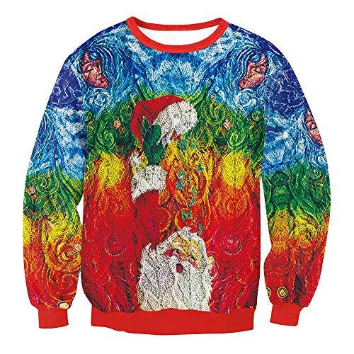 ZODOF Suéter de Navidad Sudadera Christmas Sudaderas sin Capucha Jumpers, Sudaderas Divertidas para Hombre para Mujer Unisex Ugly Sweater 3D imprimió Xmas Graphic Jersey Santa S-XL