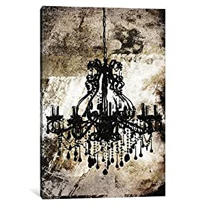 "iCanvasART 1 Piece Black Chandelier Canvas Print by Kane, 18 by 12""/1.5"" Deep"