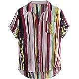 Xmiral Camicia Maniche Corte Camicie Casual da Uomo Stampate a Manica Corta da Uomo Summer Tops