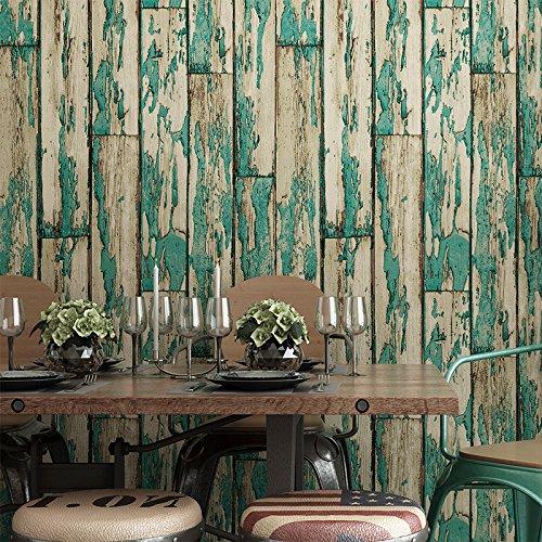 Fond d'écran PVC restaurant magasin de vêtements en bois peint café étude papier peint toile de fond , 981005 vintage blue