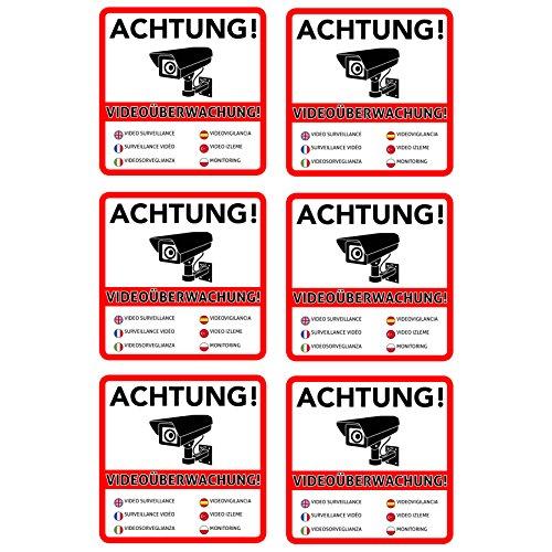 Advertencia Videovigilancia Premium–Letrero–pegatinas |hinweisschild–cartel para con cámara videoüberwachtes objeto–Casa–gelände| arañazos wetterfest|10X 10Cm
