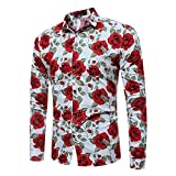 UJUNAOR Camicia Uomo Slim Fit Manica Lunga Elegante,Elegante Stampato Floreale, M L XL 2XL 3XL(X-Large,Bianca)