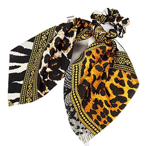 OULN1Y Stirnband Elastic Scrunchie Girl Hair Ties Cute Hair Band Hair Accessories Ribbon Rope Bow Leopard,22 (Pack Knit Ties)