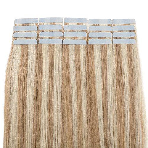50cm extension capelli veri biadesivo con meche 20 fasce 50g remy human hair tape in riutilizzabile seamless, #18/613 sabbia biondo/biondo chiarissimo