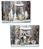 2 LED Wandbilder Weihnachten Merry Christmas Kerzen beleuchtet Bild je 40 x 30 cm Leinwand