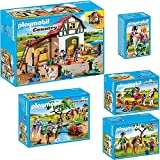 PLAYMOBIL Country Set en 5 parties 6927 6947 6948 6949 6950 Ferme Équestre + Promenade à Cheval + Excursion de Calèche + Poney avec poulain + Promenade à Poney